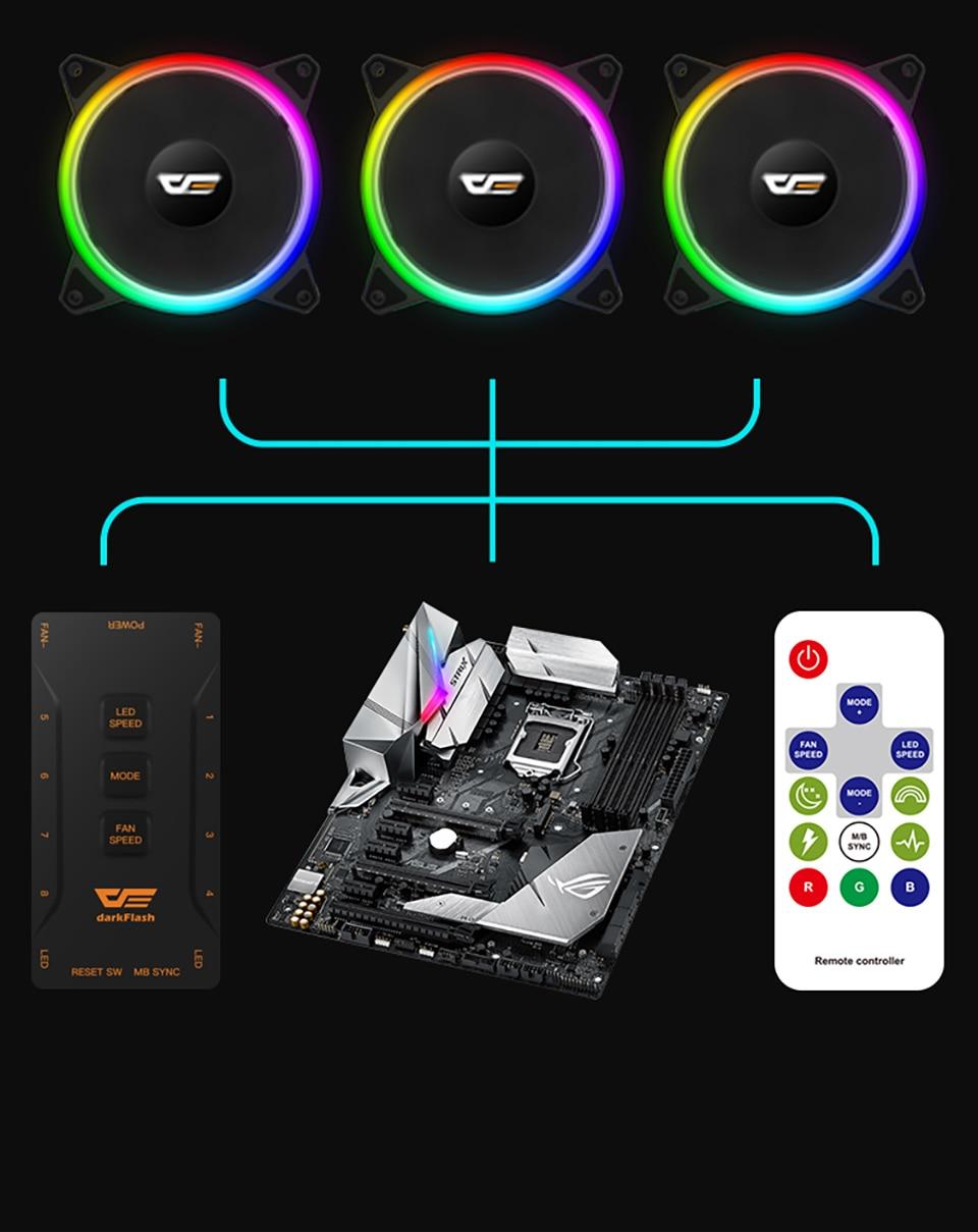 Aigo DR12 Pro Чехол для компьютера ПК Вентилятор RGB регулируемый светодиодный вентилятор Скорость вращения 120 мм тихий пульт AURA синхронизирующий компьютер охлаждающий RGB чехол вентиляторы