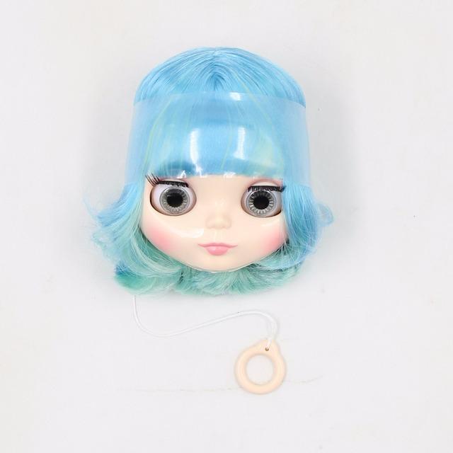 Neo Blythe Doll Only Head Short & Long Blue Mint Green Hair