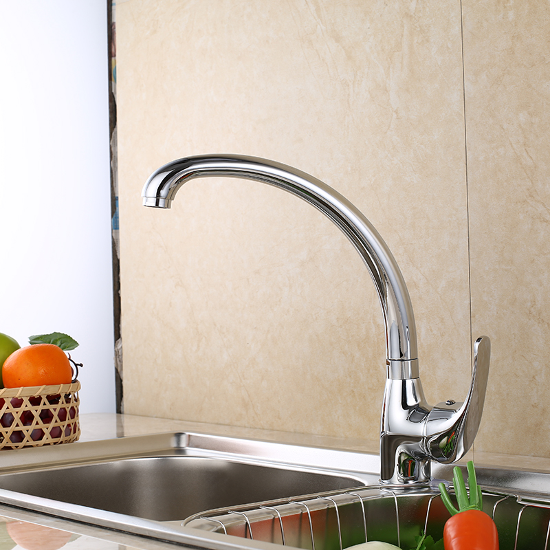 SHAI Kitchen Faucet 360 Degree Swivel Solid Zinc Alloy Kitchen Mixer Cold and Hot Kitchen Tap Single Hole Water Tap 6