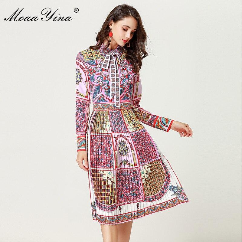 MoaaYina Fashion Designer Runway Dress Autumn Women Long sleeve Turn down collar Beading Print Bohemia Casual