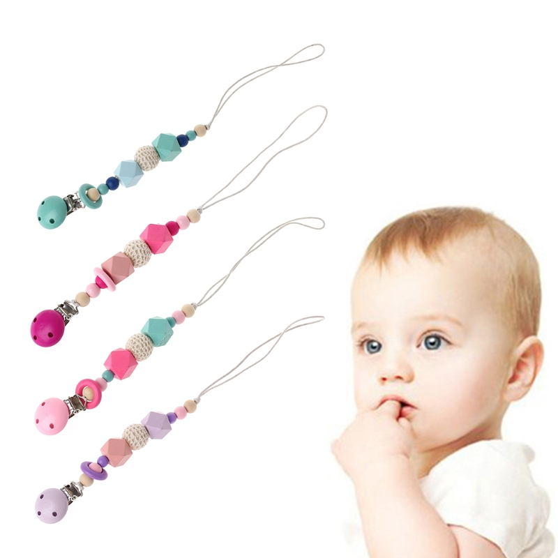 Baby Pacifier Chain Clip Holder Wooden Bead Crown Soother Feeding Teether Chew