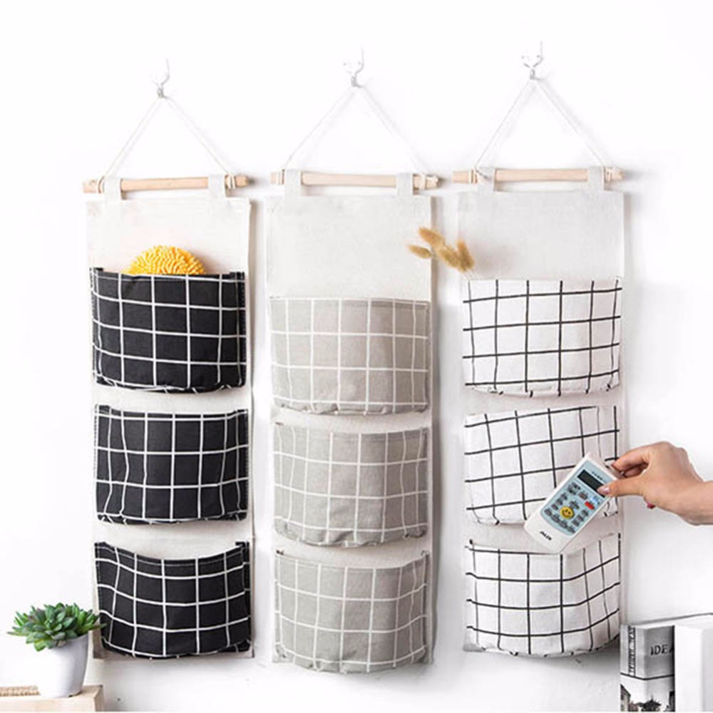 3 Pockets Cotton Linen Hanging Storage Bag Wall Wardrobe Organizer Pouch Cosmetics Sundr ...