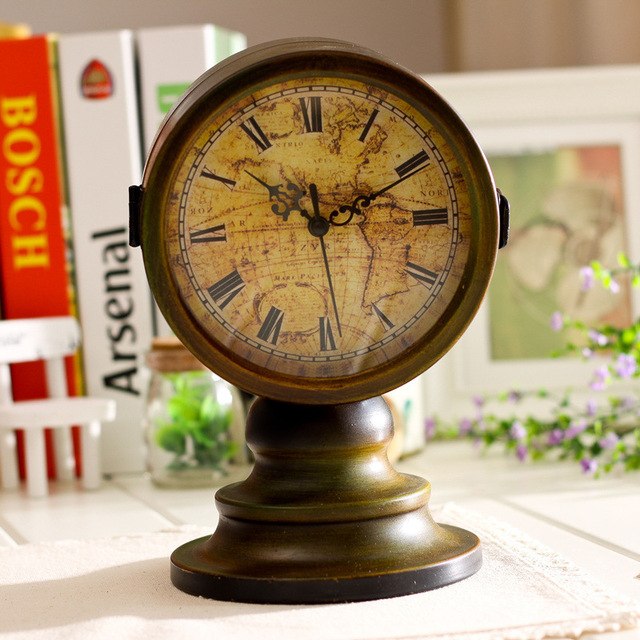 retro table clock antique relogio vintage home decor doublesided metal desk clock watch table