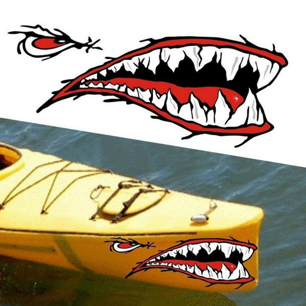 2pcs/set Fashionable Waterproof Shark Teeth Mouth PVC Sticker Decals for Fishing Ocean Boat Canoe Dinghy Accessory Drop shipping dinghy helming