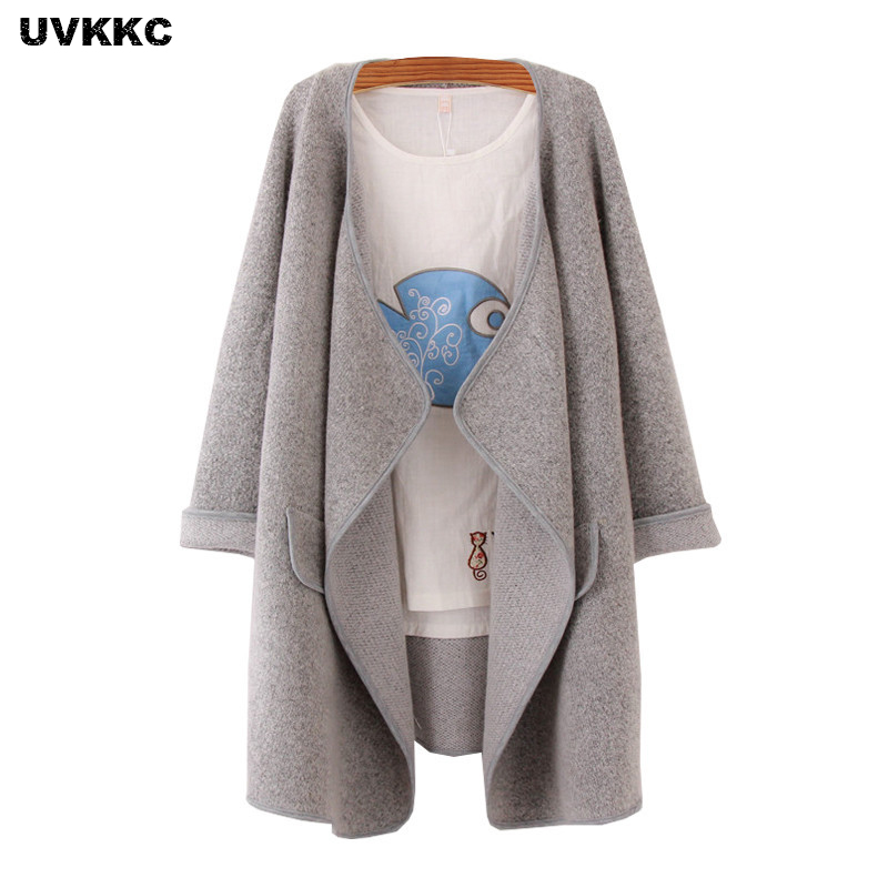UVKKC Cashmere Sweater Women Knit Cardigan Sweater Autumn Winter Solid Thick Long Open Stitch Long Sleeve Knitwear Sweater