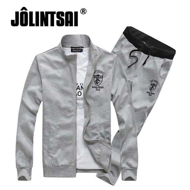 Jolintsai 2017 hoodies men Tracksuit Spring Sweat Suit For Men Casual Men Sporting Suit Letter Print Zipper Sweatshirts+Pant Set