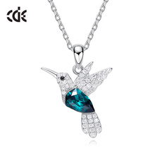 CDE 925 Sterling Silver Necklace For Women Embellished with crystals from Swarovski Bird Pendant Necklace Animal Jewelry Collars