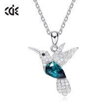 CDE 925 srebro naszyjnik dla kobiet zdobione kryształy swarovskiego wisiorek w kształcie ptaka naszyjnik biżuteria dla zwierząt obroże