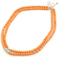 1111 MINE FINDS Salmon Coral Double Strand Necklace