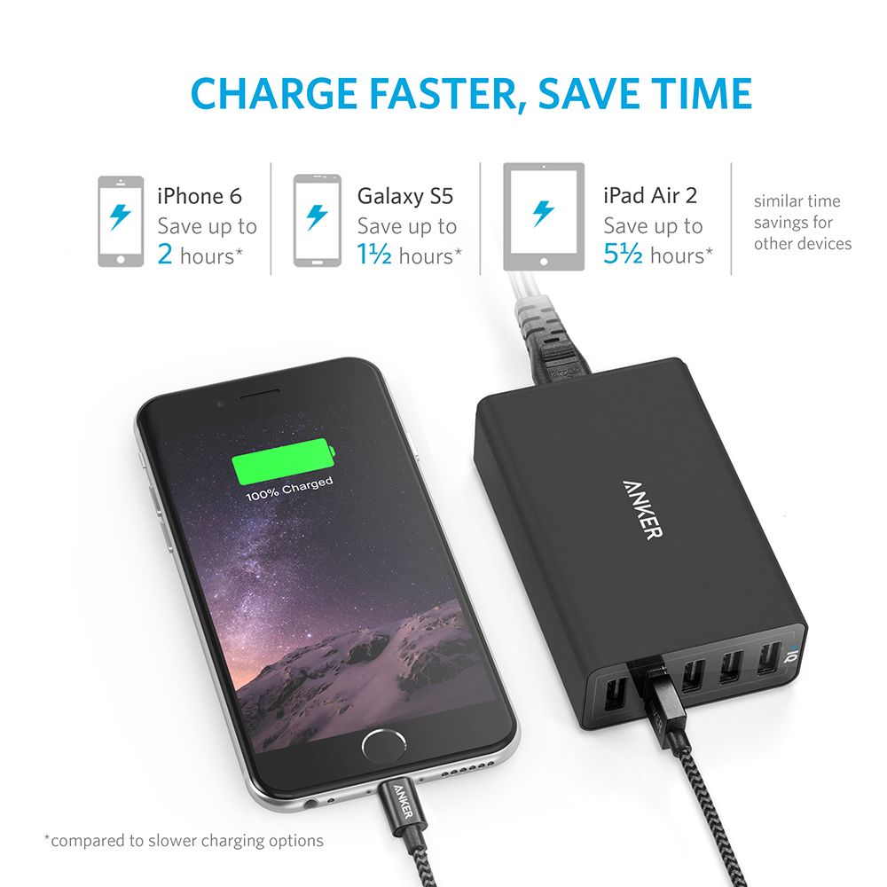 Image 3 - Anker 40W 5 Port USB Wall Charger, PowerPort 5 for iPhone,iPad Pro/Air,Galaxy S9/S8/Edge/Plus, Note 8/7,  Nexus HTC LG and more-in Mobile Phone Chargers from Cellphones & Telecommunications