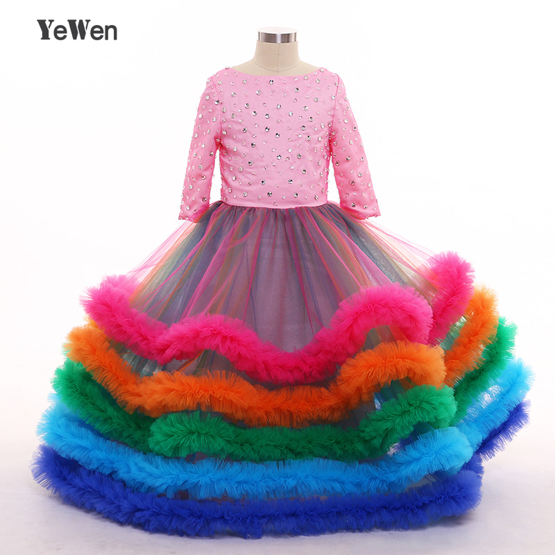YeWen 2018 colorful cloud Tulle   Flower     Girl     Dress   3/4 Sleeveles Ball Gown for Weddings   Girl   Party Communion   Dress   Pageant Gown