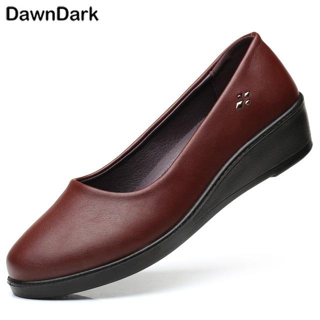 ba9de5ec29e Women Flat Shoes 2018 New Fashion Ballet Autumn Dress Women Shoes Leather Loafers  Brown Black Ladies Luxury Sneakers