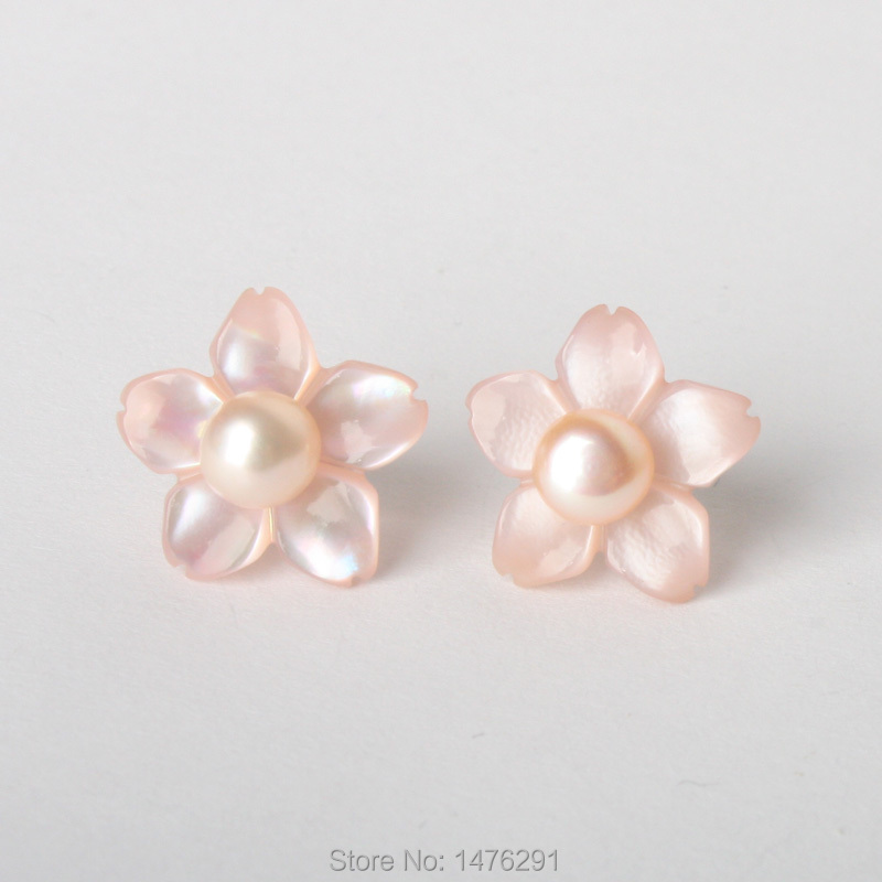 """1/"""" PINK MOTHER OF PEARL SHELL 925 STERLING SILVER earrings"""