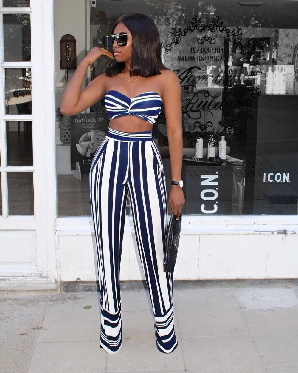 VAZN Top Quality High Design 2018 Beach Style 2 Piece Women Set Striped Strapless Mini Tops Loose Full Length Chiffong Set J6018