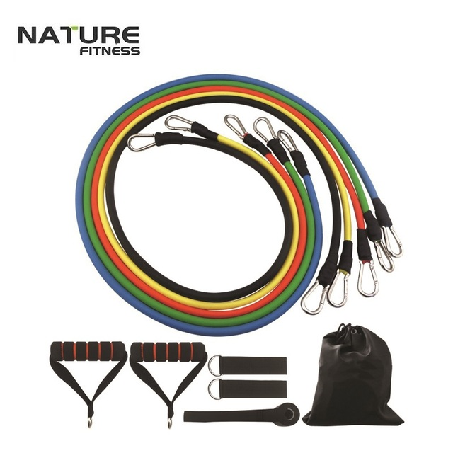 5 Colorsresistance Band Set With Door Anchor Ankle Strap Exercise