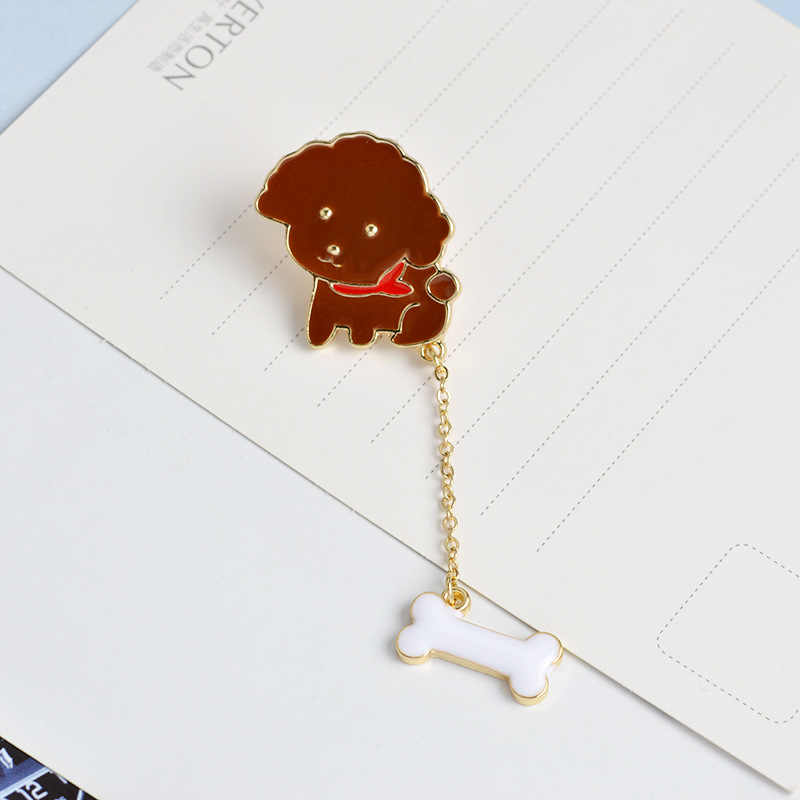 Manxiuni 2 pcs/set Kartun Teddy Anjing Tulang Pendant Panjang Rantai Tombol Pin Tas Denim Jaket Anak Pin bros