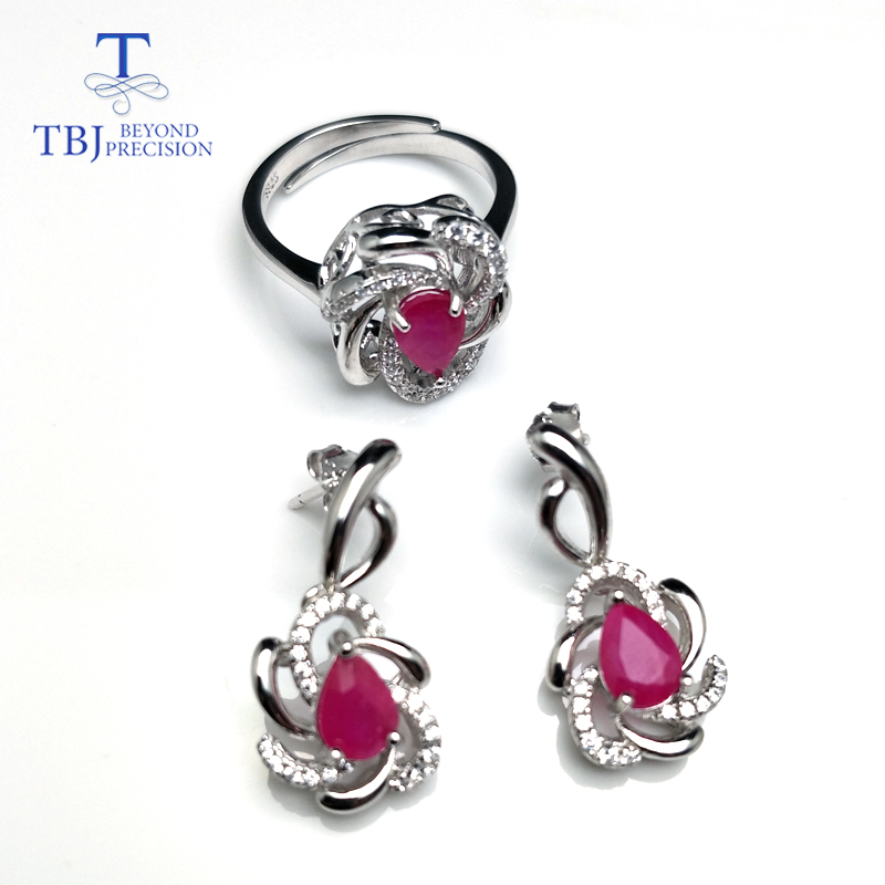 TBJ,natural pe5*7 2.7ct vivid Red Ruby Ring and earring jewelry set in 925 sterling silver for women anniversary wedding gift насос aquario ajc 101