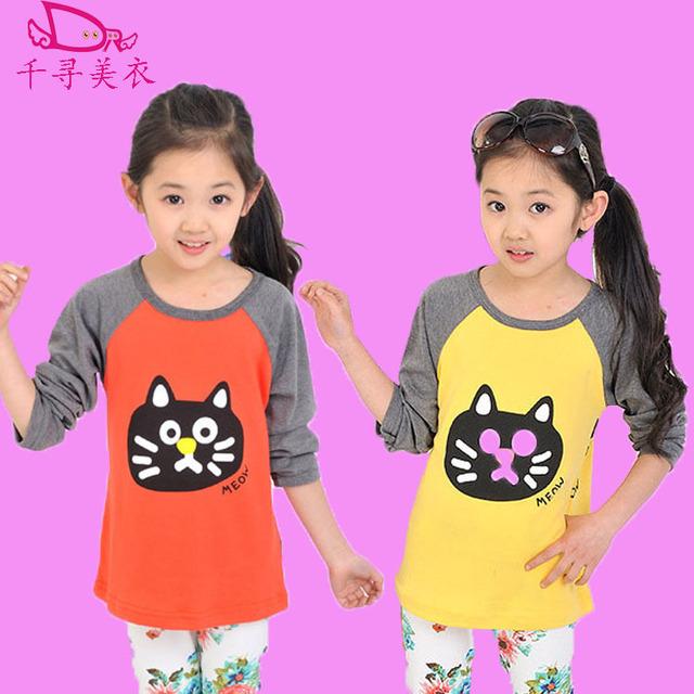 Nueva otoño invierno moda niños de manga larga T-shirt de Corea niños niñas Bebé sudadera tops ropa niños de dibujos animados cara de gato