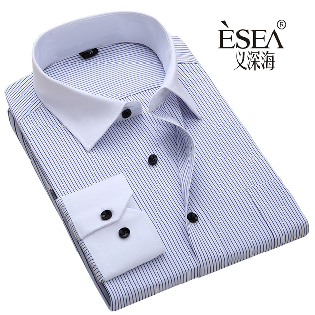 Hot sales High quality shirt male long-sleeve mens shirt commercial male male hot sales Blue black  stripes s~6xl shirt  cheap