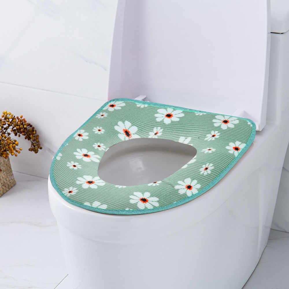 Дропшиппинг ванная комната теплое сиденье на унитаз чаша мягкая клейкая лента цветок моющийся чехол коврик