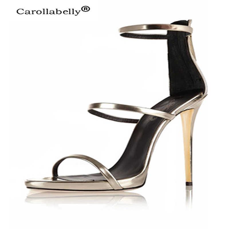 Carollabelly Mới Ba Dây Giày Cao Gót Cơ Bản Thiết Kế Quai Gót Đầm Giày Hoa Hồng Vàng Da Sáng Bóng Xanh Dương Slim Nền Tảng Dép Xăng Đan