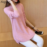 Neploe Long Soft Sweater Woman Solid Pullover 2017 Long Sleeve O Neck Knit Tops Fashion Loose