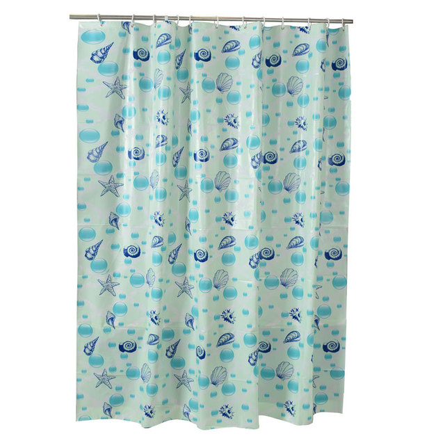 180x200CM Funny Sea Shells PEVA Waterproof Long Shower Curtains