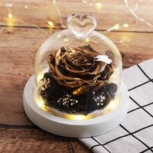 Подарок на день матери Золотая бессмертная роза цветок в стеклянном куполе белая база Светодиодная лампа украшение день Святого Валентина подарок на Рождество Флорес