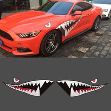Mayitr 2pcs 150x50cm Complete Shark Mouth Tooth Decal Waterproof DIY Funny Shark Mouth Teeth Vinyl Car Sticker(China)