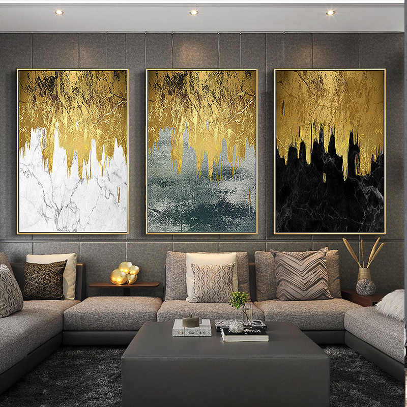 Nordic Modern Golden Canvas Painting Picture and Print Poster for Living Room Wall Art Black White Decoration Bedroom Home Decor