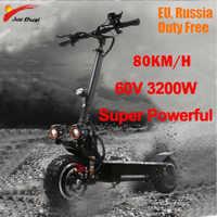3200W 60V 80 KM/H roller elektrische 11 zoll Off Road jugendliche Faltbare Wasserdichte Samsung e roller leistungsstarke Hoverboad skateboard