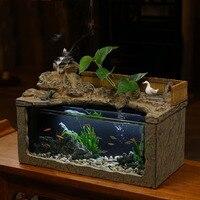 110/220 В фонтан воды дома камень большой аквариум офисный Desktop Waterscape обратного Ладан Art Украшения очистки воздуха