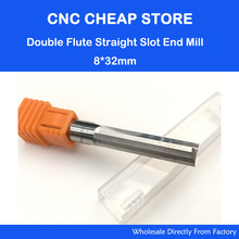 1pc 8*32mm Two Double Flutes Straight Slot Tool Bits, Wood Cutters, Solid Carbide Foma CNC Router End Mill Milling Cutter Bit