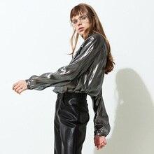 Blusas Hot Sale Fashion Poplin Body The New 2016 Light Smoke Plait Straight Turtleneck Nettley Sleeve Blouse Bright Silk Shirts