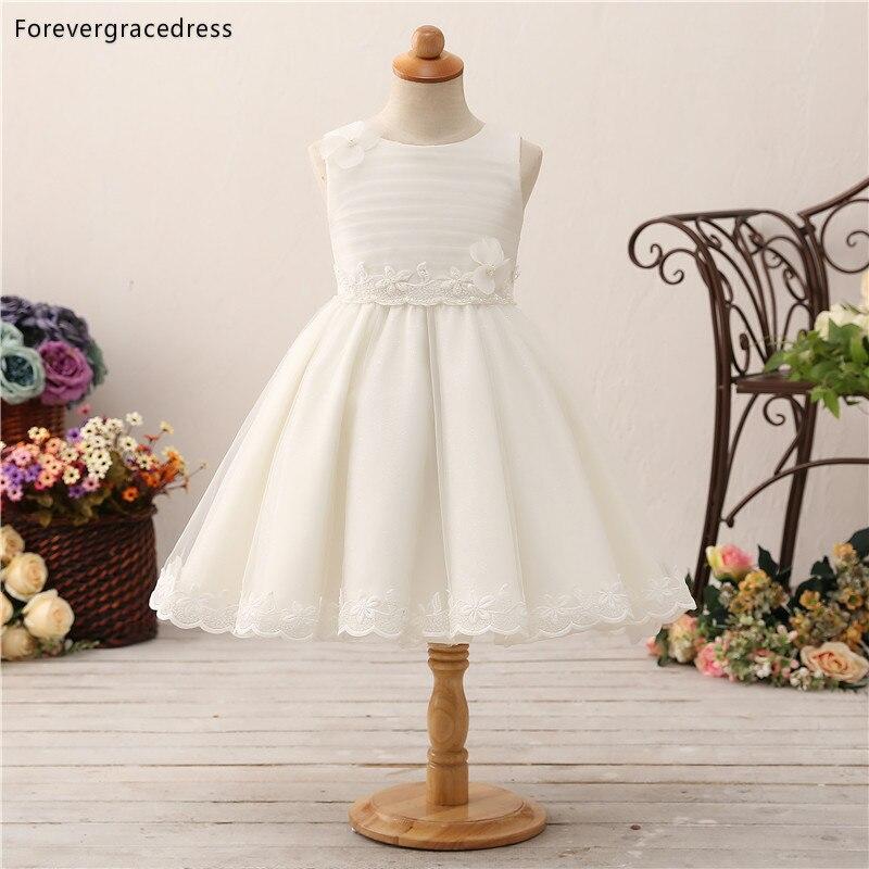 Forevergracedress Elegant Lovely   Flower     Girls     Dresses   2019 A Line Lace Sleeveless Bow Back Kids Pageant Children Gowns