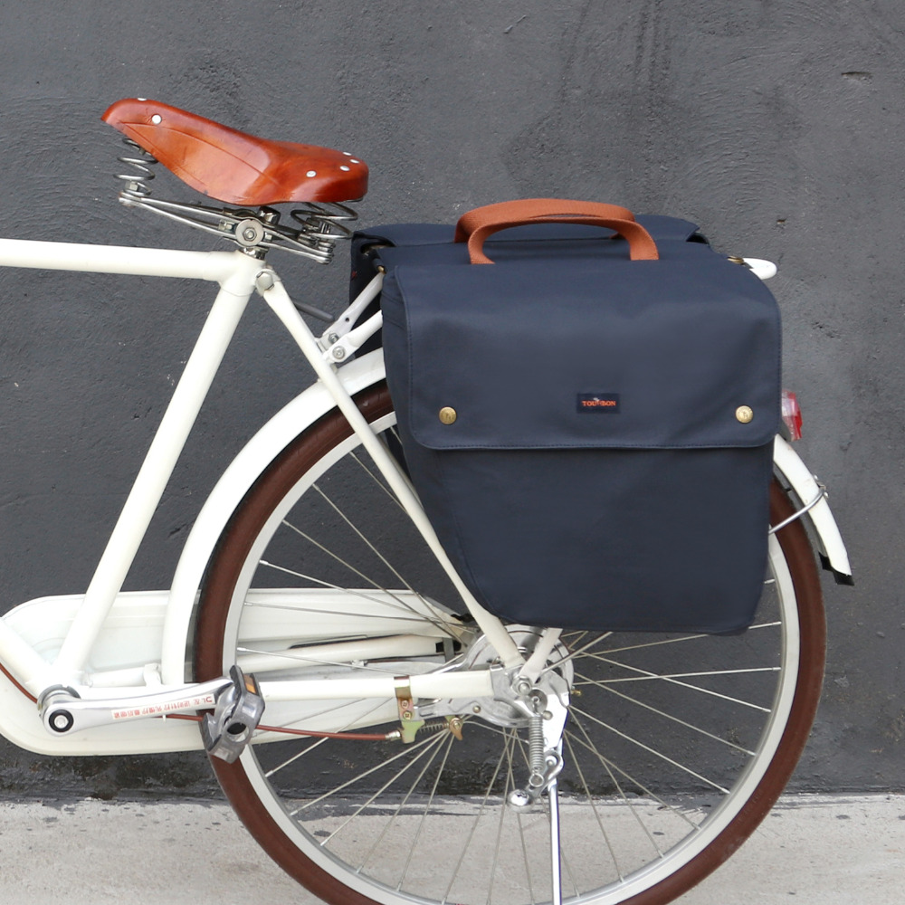 Tourbon Vintage Bicycle Bags Rear Seat Bike Pannier Rack Trunk Double Roll up Luggage Waterproof Two