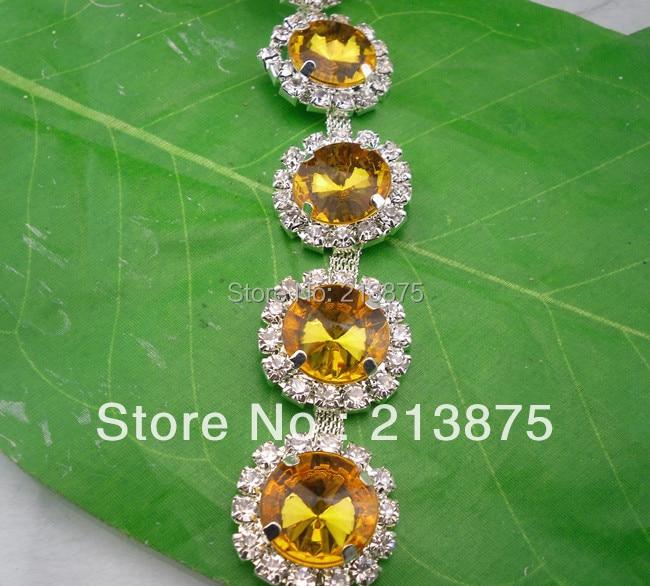 Free shipping 1 Yard 14mm Crystal yellow resin   glass rhinestone close  silver chain claw trim Wedding dress Wedding Decoration-in Rhinestones from  Home ... 972b376bd0c1