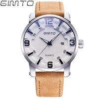 GIMTO 2018 Luxury Brand Men Creative Watch Leather Quartz Clock Male Military Wrist Watches Fashion Casual
