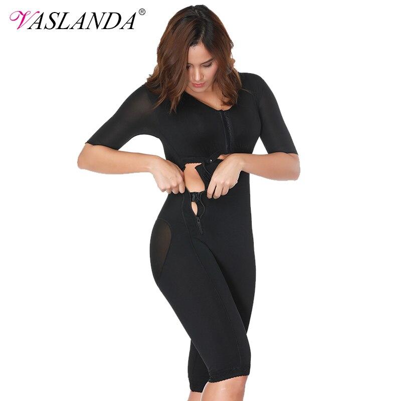 VASLANDA Women Full Body Shaper Post Partum Bodysuits Slimming Underwear Waist Girdles Trainer Butt Lifter Plus Size Shapewear