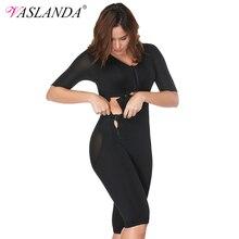 VASLANDA kadınlar tam vücut şekillendirici Post Partum Bodysuits zayıflama iç çamaşırı bel kemerler eğitmen Butt kaldırıcı artı boyutu Shapewear