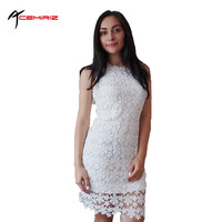 ACEMIRIZ 2017 Summer Sundress Solid Colors Elegant Floral Lace Crochet Women Dresses Short White Red Black Dress AWD0008