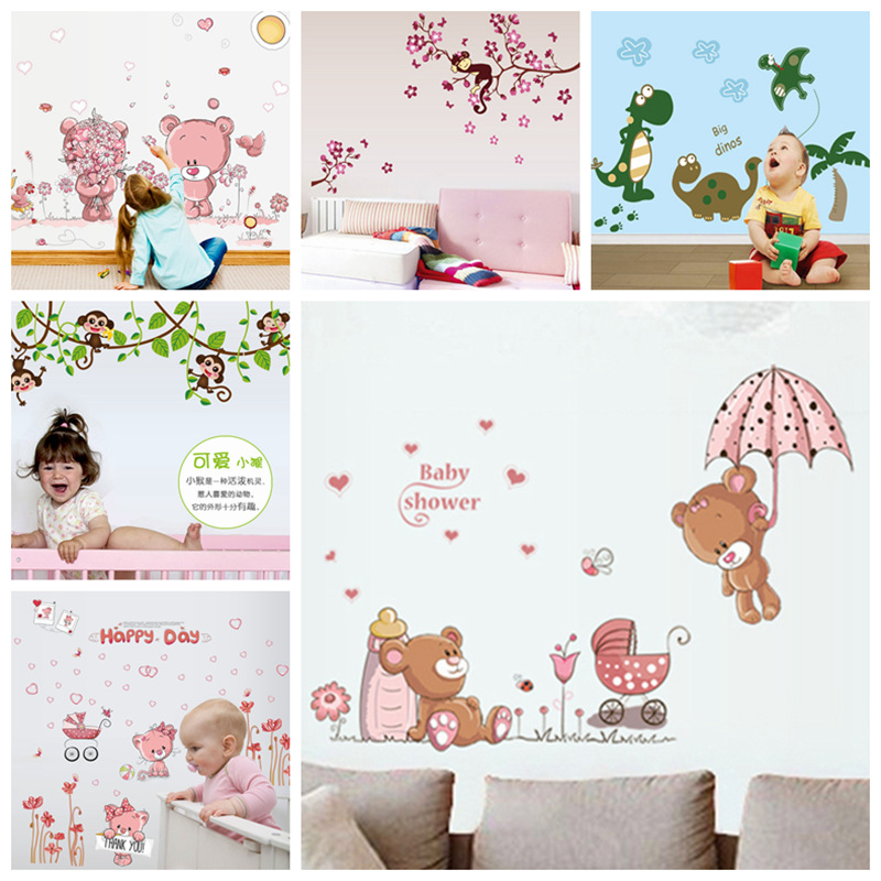 Zs Klistermærker Dyr Wall Stickers Nursery Decor Kids Room Wall Decal Børn vinyl baby room dekorative selvklæbende dekoration
