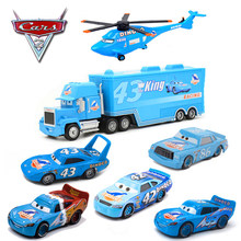 7 Pcs/set Disney Pixar Cars 2 3 DINOCO Dinosaur Car Toy Discoloration Lightning McQueen King Diecasts Model Kid Educational Toys(China)