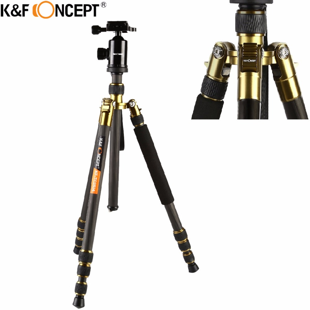 K & F CONCEPT Profesional Portable Carbon Fiber Camera Tripod untuk Monopod + Ball Head + Carry Bag untuk Canon Nikon Sony DSLR SLR Camera