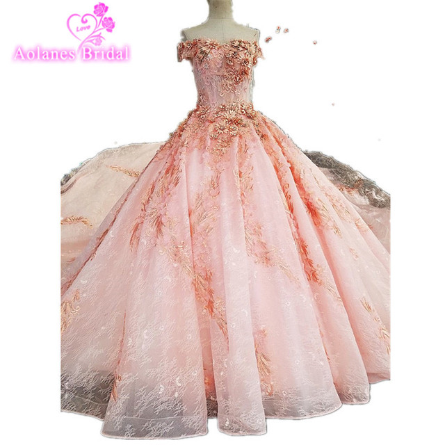 2017 Real Photos Pink Ball Gown Wedding Dress Long Train Luxury Lace  Appliques Flowers Beaded Scoop Wedding Bridal Dresses 44bb2f3ae136