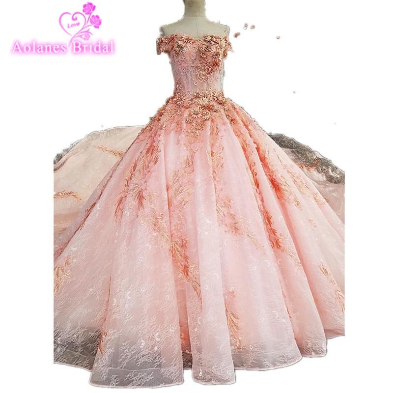 2017 Real Photos Pink Ball font b Gown b font font b Wedding b font Dress