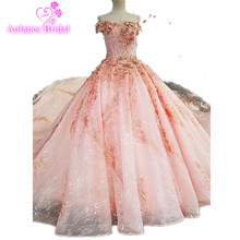 2017 Real Photos Pink Ball Gown Wedding Dress Long Train Luxury Lace Appliques Flowers Beaded Scoop Wedding Bridal Dresses