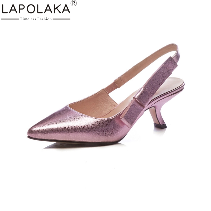 LAPOLAKA New women's Synthetic Elastic Band Pointed Toe Solid Shallow Shoes Woman Casual Summer Sandals Big Size 33-41 bohemia plus size 34 41 new fashion wedges sandals slip on elastic band casual platform shoes woman summer lady shoes shallow