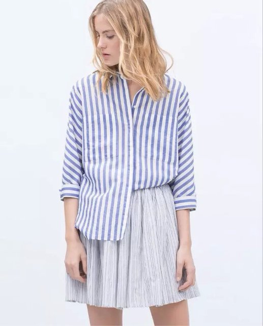 Blue Striped Shirt With Kimono Sleeves 2015 Summer Women