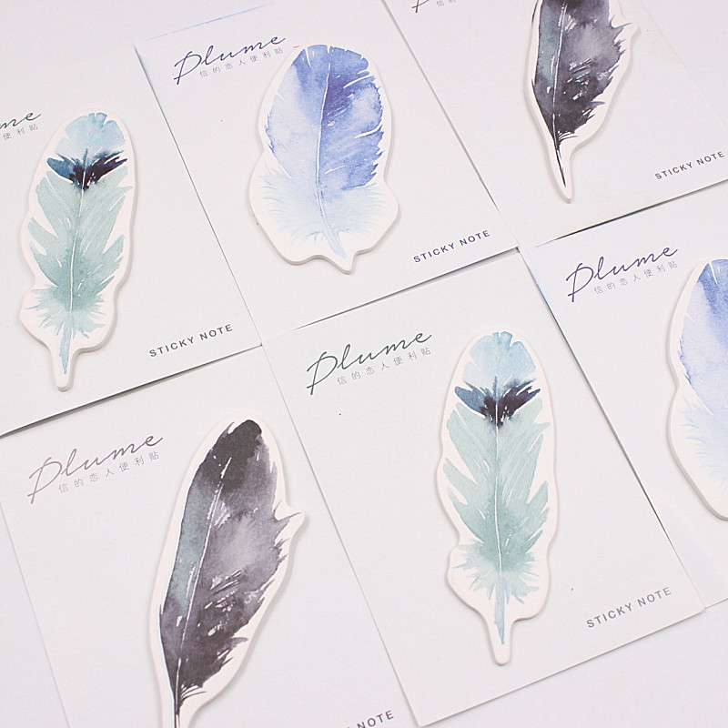 30 Sheets/pack Plume Series Feather Self-Adhesive Memo Pad Sticky Notes Post It Bookmark  Stationery School Office Supply 1000 label self adhesive sticky a4 sheets address labels inkjet laser copier printer ebay amazon sticky address post pack paper